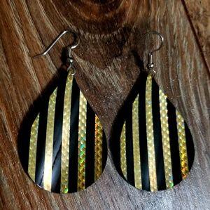 Black and Gold Metallic Striped Teardrop Earrings